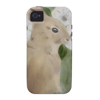 caso del iPhone 4 con el conejito y las flores de Vibe iPhone 4 Funda