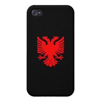 Caso del iPhone 4 de Eagle del albanés (rojo en ne iPhone 4 Carcasas