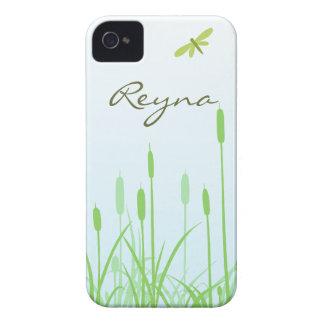 Caso del iPhone 4 de la libélula y de la hierba iPhone 4 Carcasa