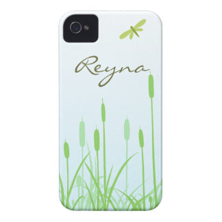 Caso del iPhone 4 de la libélula y de la hierba iPhone 4 Protectores