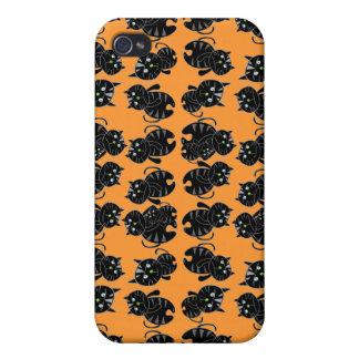 Caso del iPhone 4 de la mota de los gatos negros iPhone 4/4S Carcasas