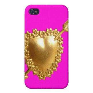 Caso del iPhone 4 de la mota del rosa del corazón  iPhone 4 Fundas