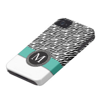 Caso del iPhone 4 de la turquesa del monograma de iPhone 4 Case-Mate Protector
