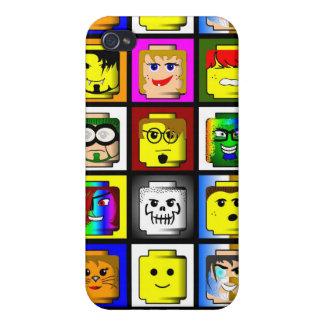 Caso del iPhone 4 de las cabezas de los bloques hu iPhone 4 Protectores