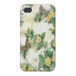 Caso del iPhone 4 de las flores y de la mariposa iPhone 4 Cárcasas