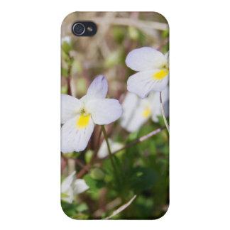 Caso del iphone 4 de las violetas blancas iPhone 4 coberturas