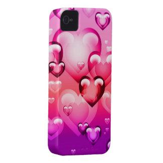 Caso del iPhone 4 de los corazones de la burbuja iPhone 4 Funda