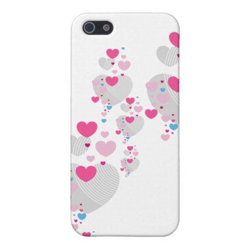 Caso del iphone 4 de los corazones de la tarjeta d iPhone 5 carcasa
