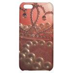 Caso del iPhone 4 de princesa Crown Pearls Pink