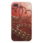 Caso del iPhone 4 de princesa Crown Pearls Pink iPhone 4 Carcasa