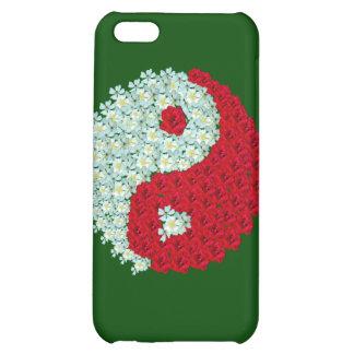 Caso del iphone 4 de Yin Yang de los rosas blancos
