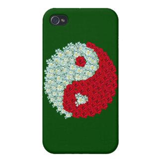 Caso del iphone 4 de Yin Yang de los rosas blancos iPhone 4/4S Fundas