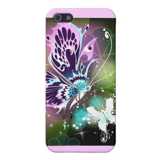 Caso del iPhone 4 del arte de la mariposa iPhone 5 Coberturas