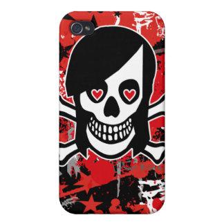 Caso del iPhone 4 del cráneo del chica de Emo iPhone 4/4S Carcasa