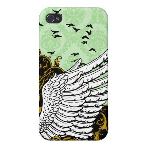 Caso del iPhone 4 del damasco del ala del pájaro d iPhone 4 Cárcasa