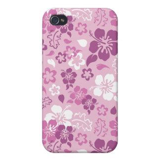 Caso del iPhone 4 del estampado de plores del hibi iPhone 4 Protectores