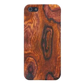 Caso del iPhone 4 del final de Cocobolo (madera) iPhone 5 Fundas