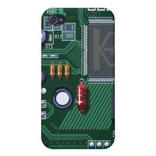Caso del iPhone 4 del friki de la placa de circuit iPhone 4 Funda