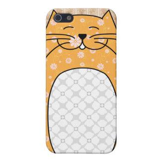 Caso del iPhone 4 del gato anaranjado iPhone 5 Protector