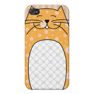 Caso del iPhone 4 del gato anaranjado iPhone 4/4S Carcasas