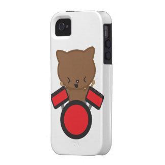 Caso del iphone 4 del gato del batería de Kawaii Vibe iPhone 4 Fundas