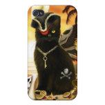 Caso del iPhone 4 del gato negro del gato del pira iPhone 4/4S Carcasas