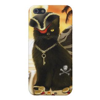 Caso del iPhone 4 del gato negro del gato del pira iPhone 5 Fundas