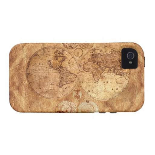 Caso del iPhone 4 del mapa del mundo del viejo est Vibe iPhone 4 Funda
