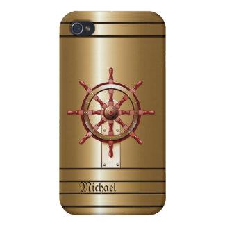 Caso del iPhone 4 del marinero de oro del timón iPhone 4 Protectores