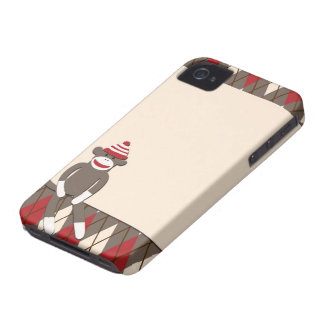 Caso del iPhone 4 del mono del calcetín de Argyle iPhone 4 Case-Mate Protectores