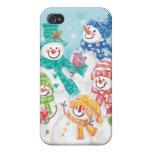 Caso del iPhone 4 del muñeco de nieve del navidad  iPhone 4 Fundas