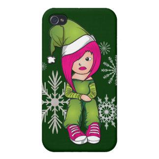 Caso del iphone 4 del navidad del chica de Emo iPhone 4 Funda