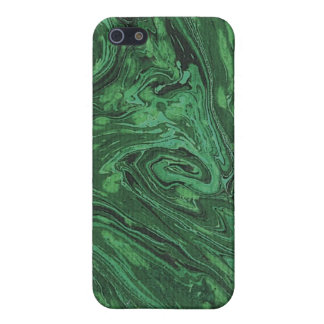 Caso del iPhone 4 del papel veteado del verde iPhone 5 Carcasa