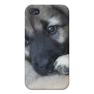 Caso del iPhone 4 del perrito del pastor alemán iPhone 4 Funda