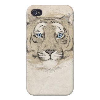 Caso del iPhone 4 del tigre de los ojos azules iPhone 4 Fundas