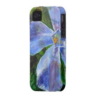 caso del iphone 4: Flor agradecida del Vinca Case-Mate iPhone 4 Fundas