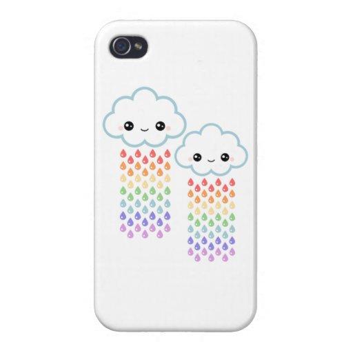 caso del iPhone 4 - nubes que llueven el arco iris iPhone 4 Carcasas