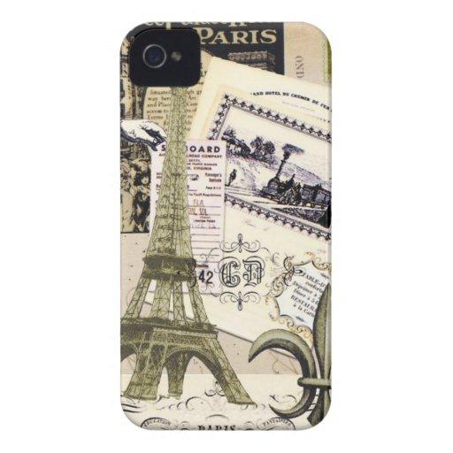 caso del iphone 4. Vintage todo París Case-Mate iPhone 4 Coberturas