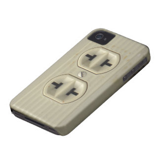 Caso del iPhone 4G del enchufe de pared del vintag iPhone 4 Case-Mate Fundas