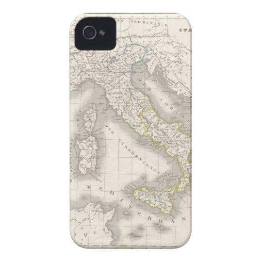 Caso del iPhone 4S del mapa de Italia del Viejo Funda Para iPhone 4 De Case-Mate