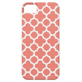Caso del iPhone 5/5S de Quatrefoil en coral iPhone 5 Fundas