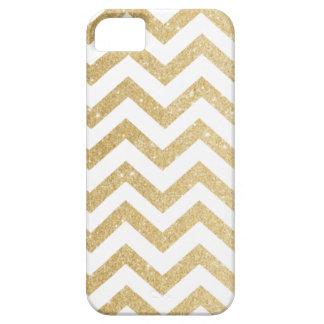 Caso del iPhone 5/5S del brillo del oro de Chevron iPhone 5 Protector