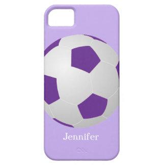 caso del iPhone 5 5s fútbol púrpura personaliza iPhone 5 Case-Mate Carcasa