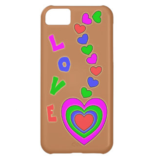 Caso del iPhone 5 de Brown de los corazones del mu