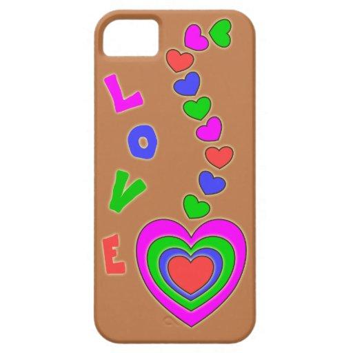 Caso del iPhone 5 de Brown de los corazones del mu iPhone 5 Case-Mate Coberturas