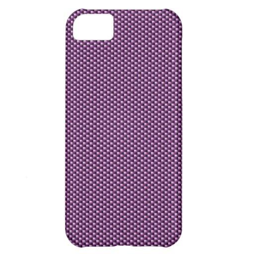 Caso del iPhone 5 de la fibra de carbono (púrpura)