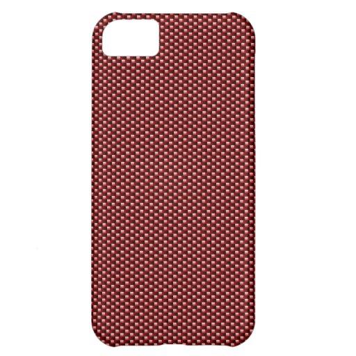 Caso del iPhone 5 de la fibra de carbono (rojo osc