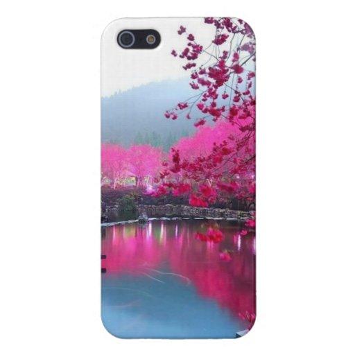 Caso del iphone 5 de la flor de cerezo iPhone 5 fundas