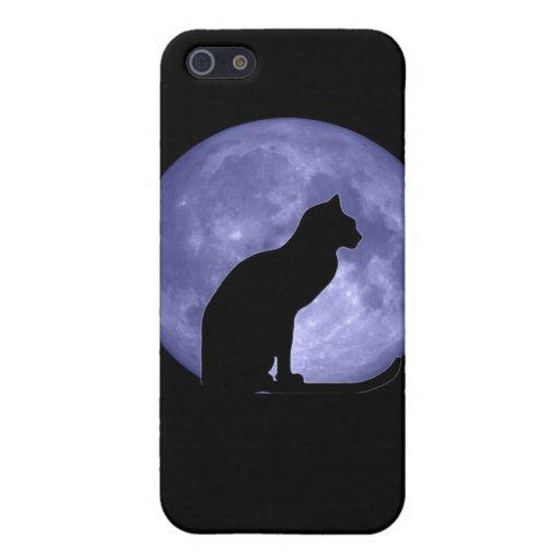 Caso del iPhone 5 de la luna azul del gato negro iPhone 5 Carcasa
