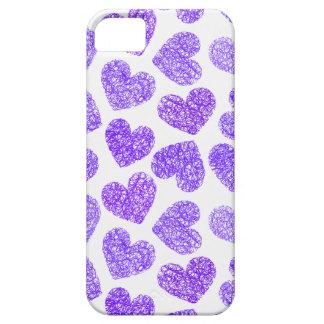 Caso del iPhone 5 de los corazones púrpuras iPhone 5 Carcasa